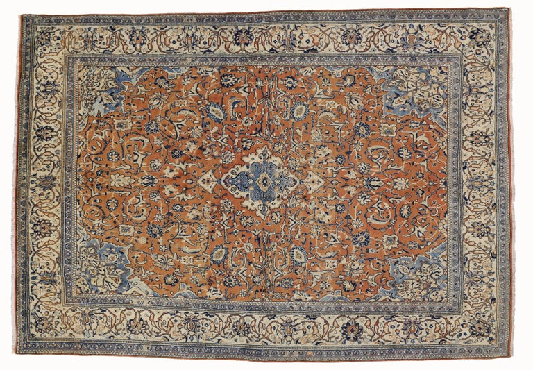20th Century Orange and Blue Vintage Persian Mahal Rug For Sale