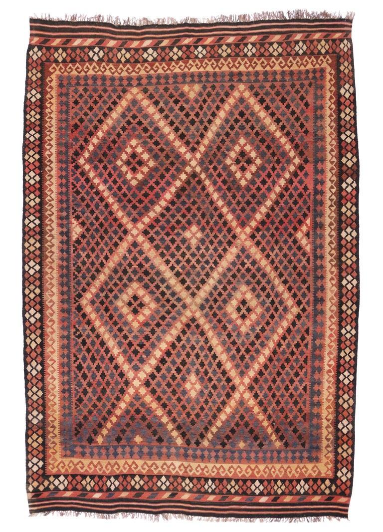 Wool Vintage Afghan Kilim Rug with Modern Tribal Style For Sale
