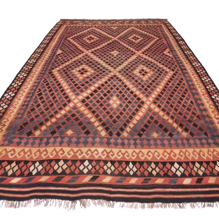 Hand-Woven Vintage Afghan Kilim Rug with Modern Tribal Style For Sale