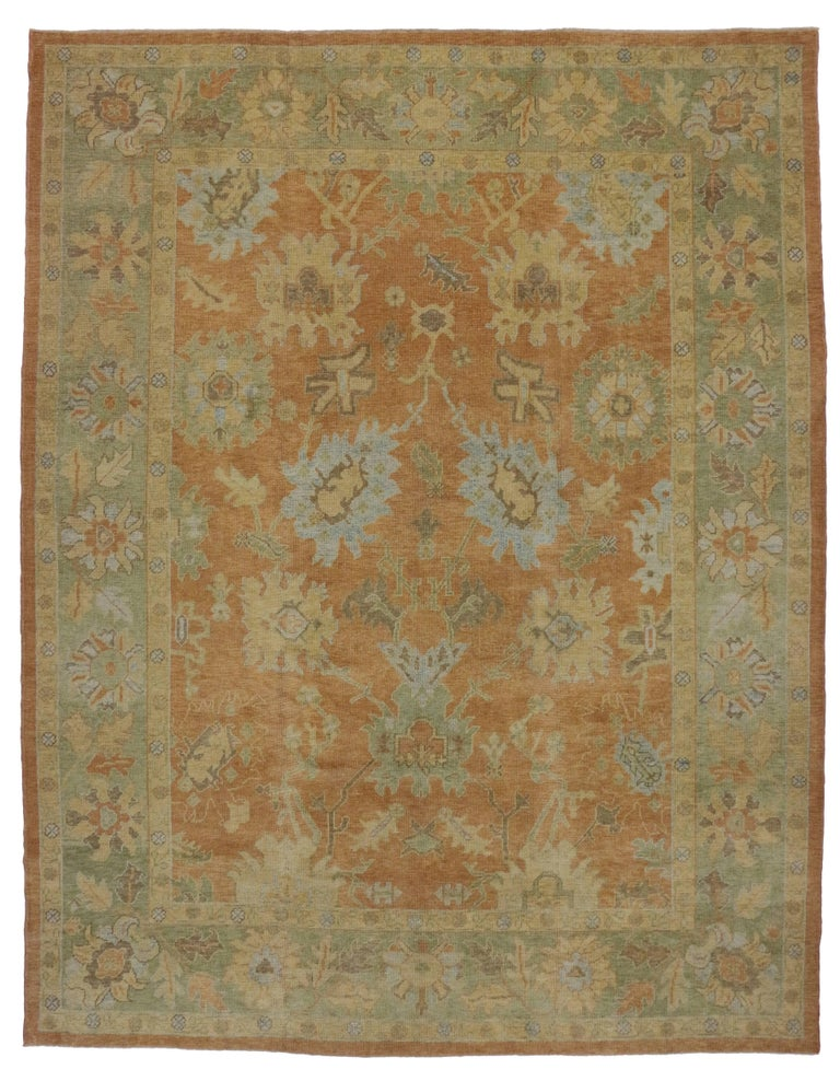 New Modern Turkish Oushak Rug With Transitional Style For