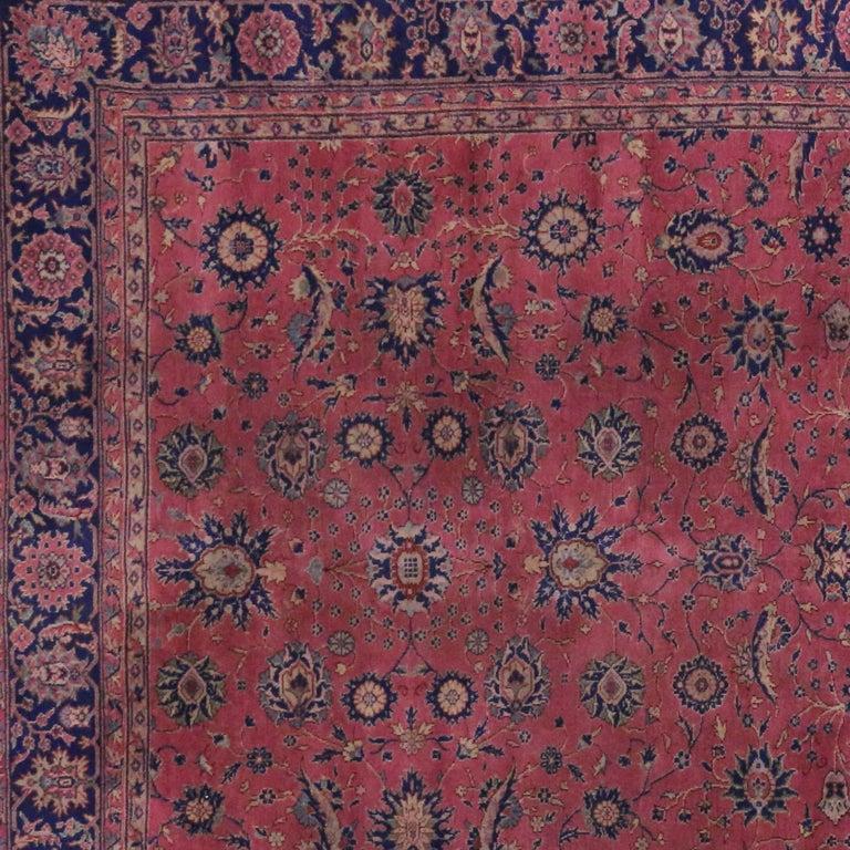 Antique Turkish Sparta Gallery Rug, Raspberry Pink And