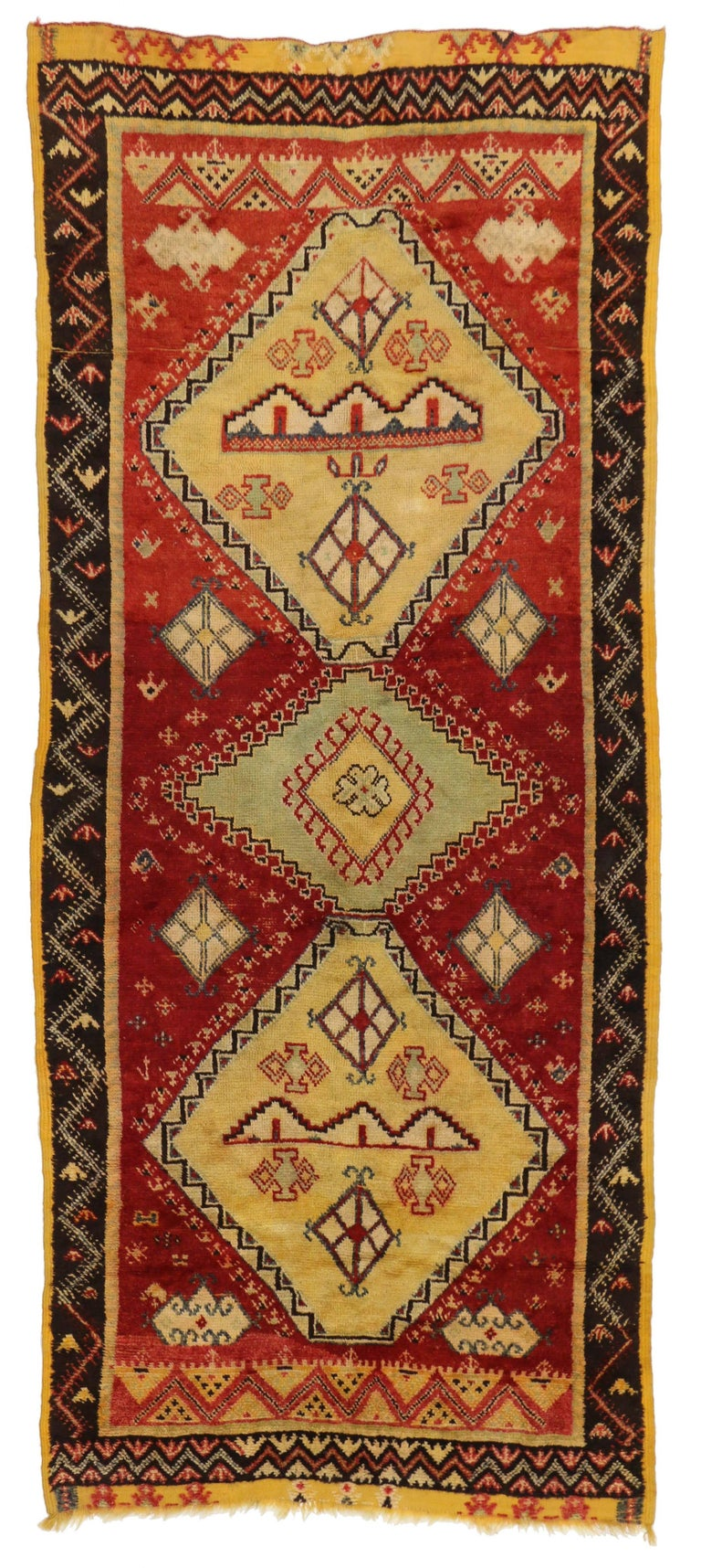 Vintage berber moroccan rug with modern tribal style for for Wool berber area rug