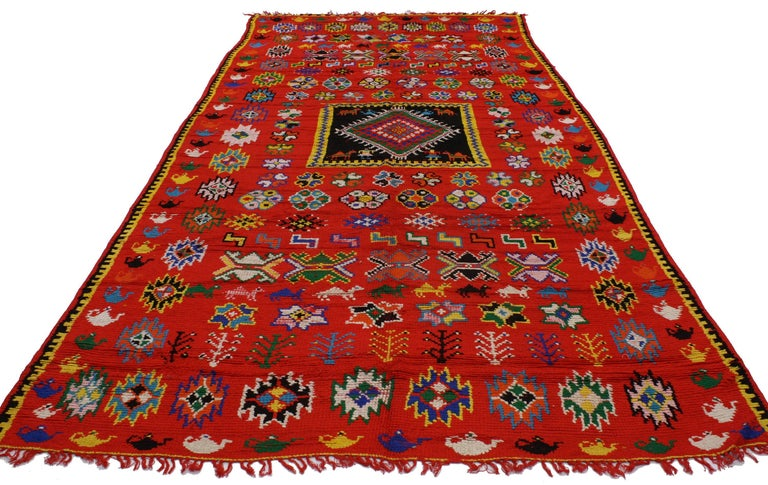 20217 Vintage Berber Moroccan Rug with Modern Tribal Style. This vintage Berber Moroccan rug with modern tribal style, woven by the Berber Tribes of Morocco in the Atlas Mountains, is bursting with vibrant colors and symbolism. Primarily woven by