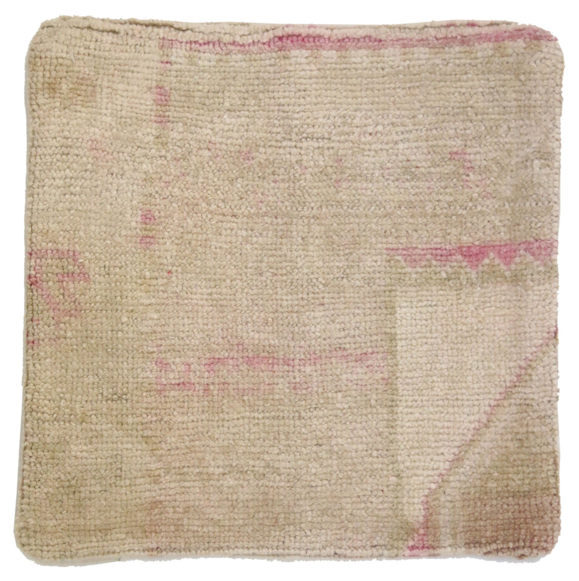 Vintage Oushak Pillow Cover with Soft Muted Colors, Oushak Rug Pillow Cover