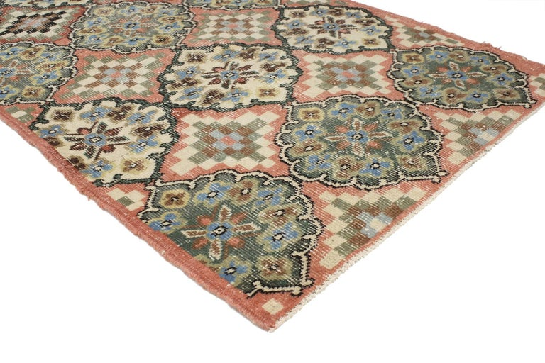Industrial Distressed Vintage Turkish Sivas Accent Rug in Swedish Farmhouse Style For Sale