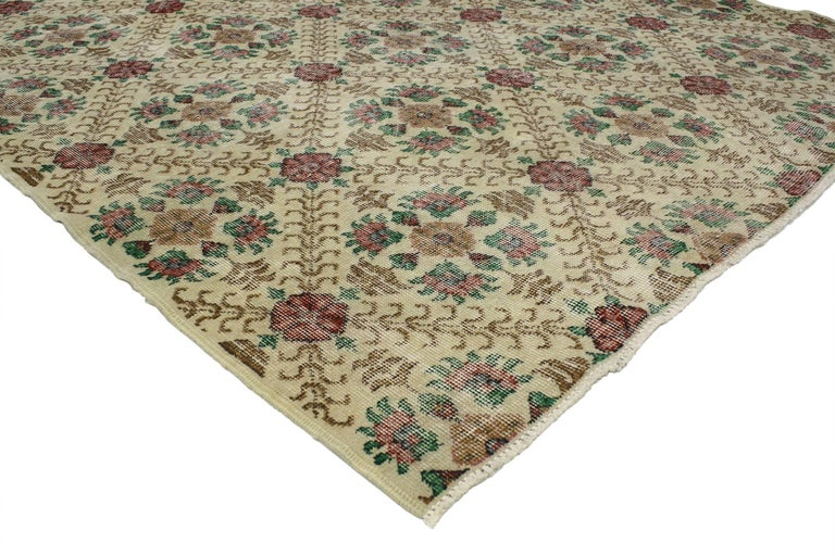 52018 Distressed Turkish Sivas Rug with Shabby Chic English Country Cottage Style. With the perfect mix of romance and simplicity, this hand-knotted wool distressed vintage Turkish Sivas rug embodies a cozy English Country Cottage style. The field
