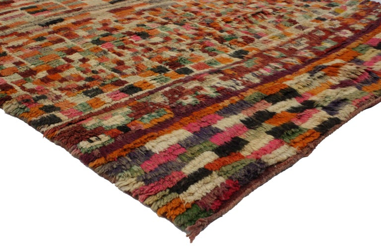 Hand-Knotted Vintage Berber Moroccan Rug with Modern Abstract Style For Sale