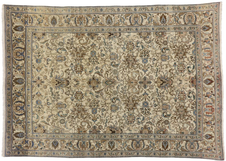 20th Century Vintage Persian Tabriz Rug with Traditional Style For Sale