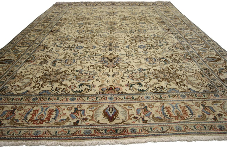 Hand-Knotted Vintage Persian Tabriz Rug with Traditional Style For Sale