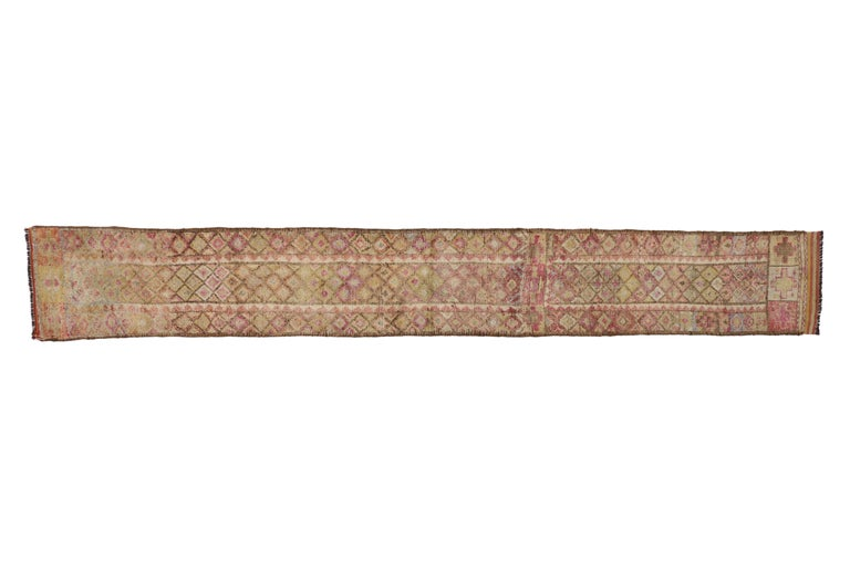 Vintage Turkish Oushak Runner, Extra-Long and Narrow Hallway Runner In Good Condition For Sale In Dallas, TX