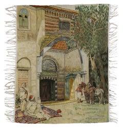 Vintage Wall Hanging Tapestry with Caravanserai Scene