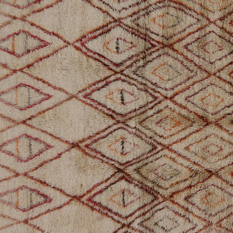 Mid-Century Modern Beni Ourain Moroccan Rug with Tribal Designs 4