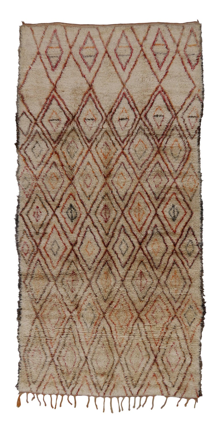 Mid-Century Modern Beni Ourain Moroccan Rug with Tribal Designs 10