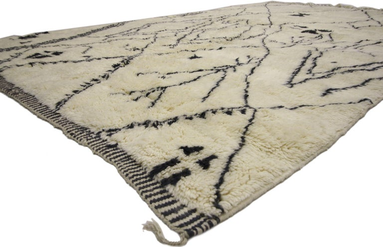 Hand-Knotted Contemporary Berber Moroccan Rug with Tribal Design, Berber Moroccan Rug For Sale