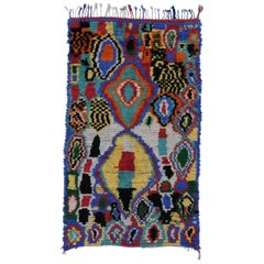Vintage Colorful Moroccan Rug with Abstract Expressionist and Surrealism Style
