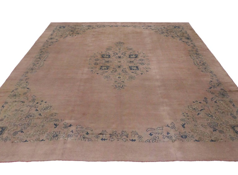 Antique Turkish Oushak Area Rug With Muted Colors Pink