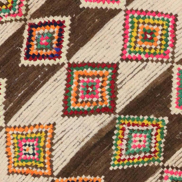 Mid Century Modern Moroccan Rug With Diamond Pattern For