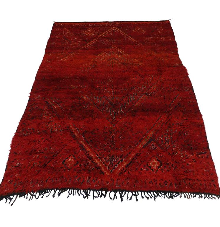 Mid Century Modern Style Red Berber Moroccan Rug With: Mid-Century Modern Berber Moroccan Rug In Crimson Red For