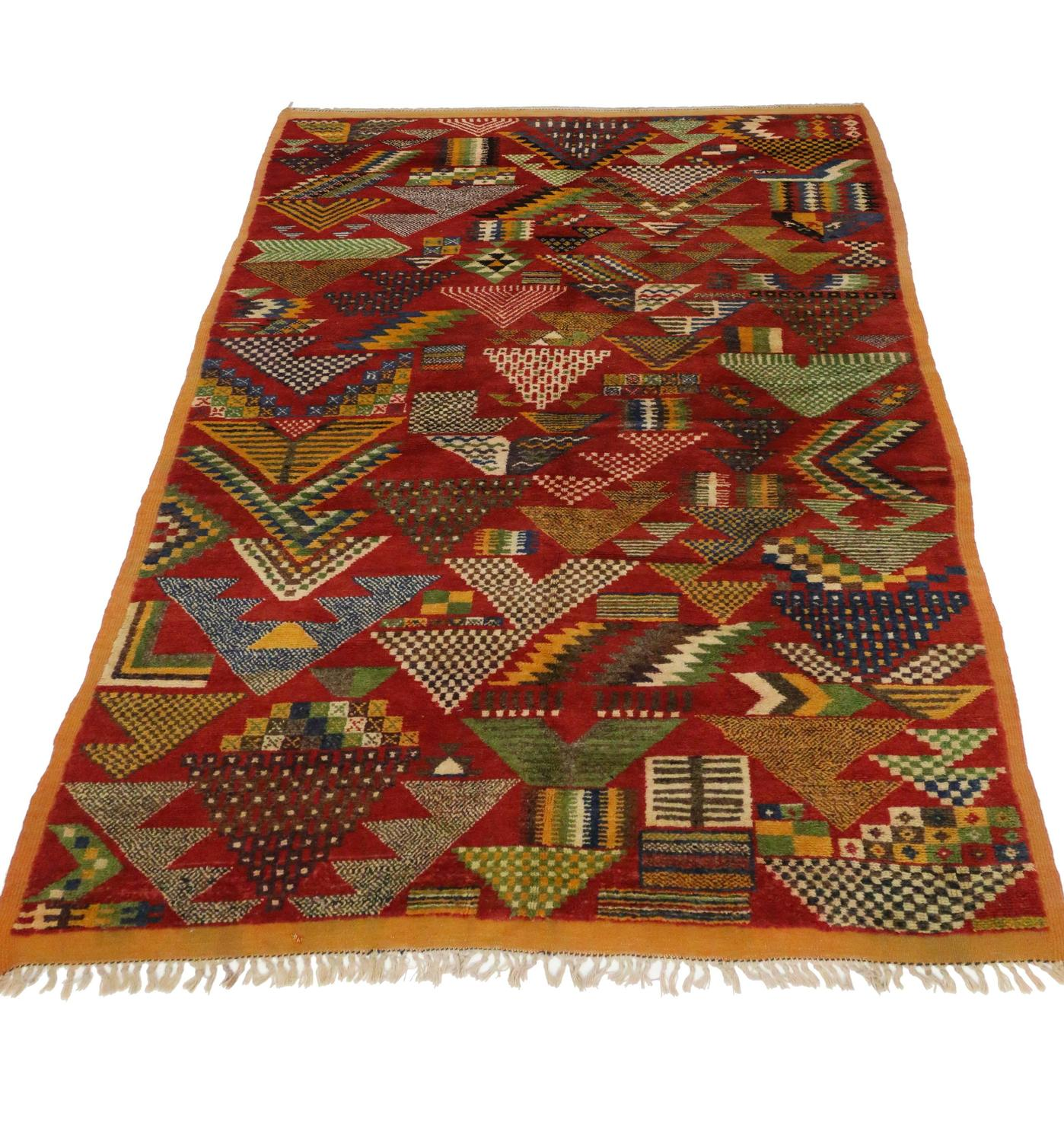 Berber Moroccan Rug With Art Deco Design For Sale At 1stdibs