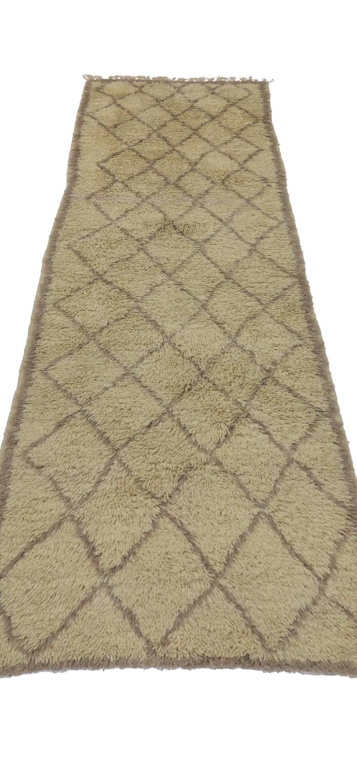Mid Century Modern Berber Moroccan Carpet Runner With