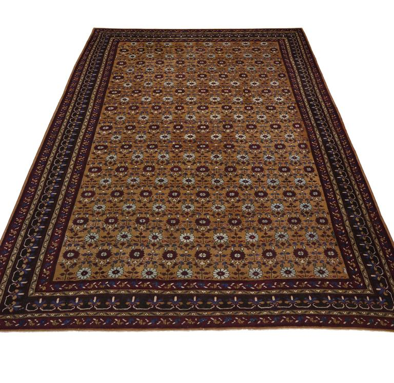 Deep Burgundy Indian Agra Rug For Sale At 1stdibs: Late 19th Century Antique Indian Agra With Mid-Century