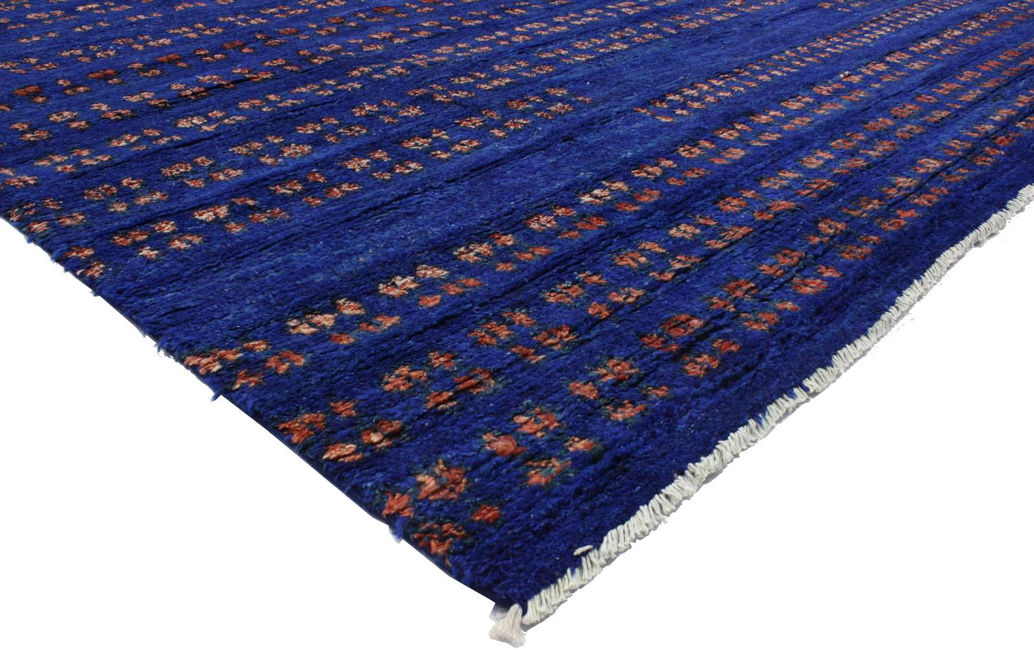 Contemporary Moroccan Style Area Rug In Cobalt Blue At 1stdibs