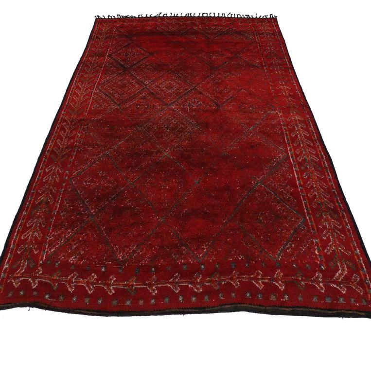 Mid Century Modern Style Red Berber Moroccan Rug With: Mid-Century Modern Style Berber Moroccan Rug In Ravishing