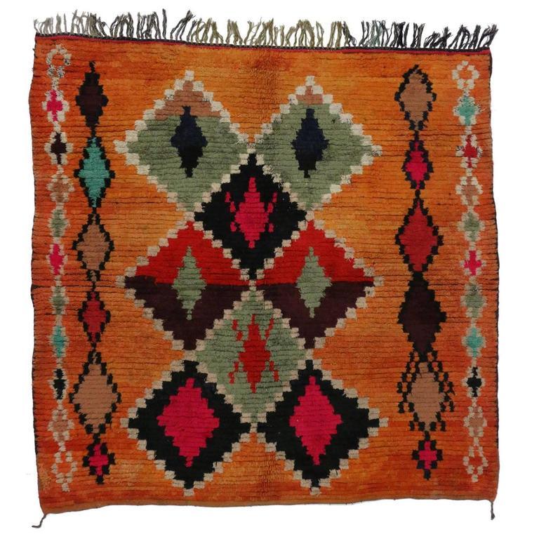 Maroc Tribal Rug: Berber Moroccan Rug With Tribal Design For Sale At 1stdibs