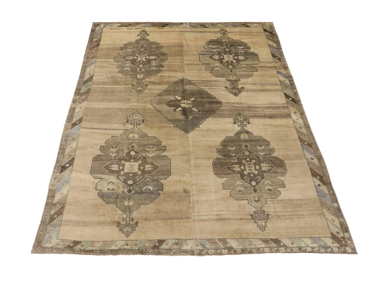 Vintage turkish oushak area rug with mid century modern for Modern area rugs for sale