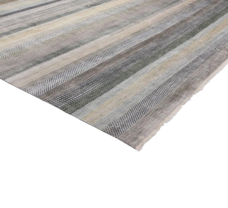 Transitional Grass Cloth Pattern Area Rug With Modern