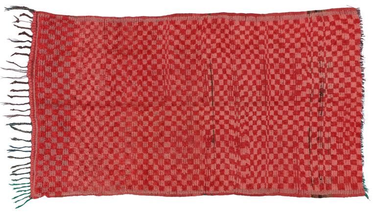 Vintage Berber Moroccan Boujad Rug with Checkerboard Post-Modern Style For Sale 3