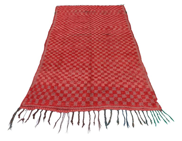 Vintage Berber Moroccan Boujad Rug with Checkerboard Post-Modern Style For Sale 2