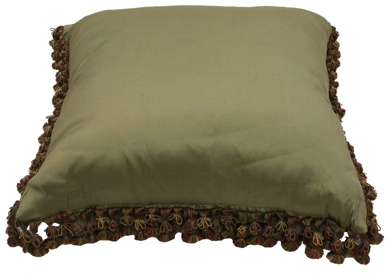 French Late 19th Century Antique European Needlepoint Pillow with Aubusson Roses For Sale