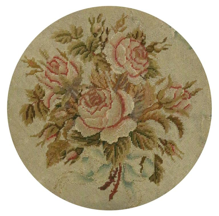 Hand-Woven Late 19th Century Antique European Needlepoint Pillow with Aubusson Roses For Sale