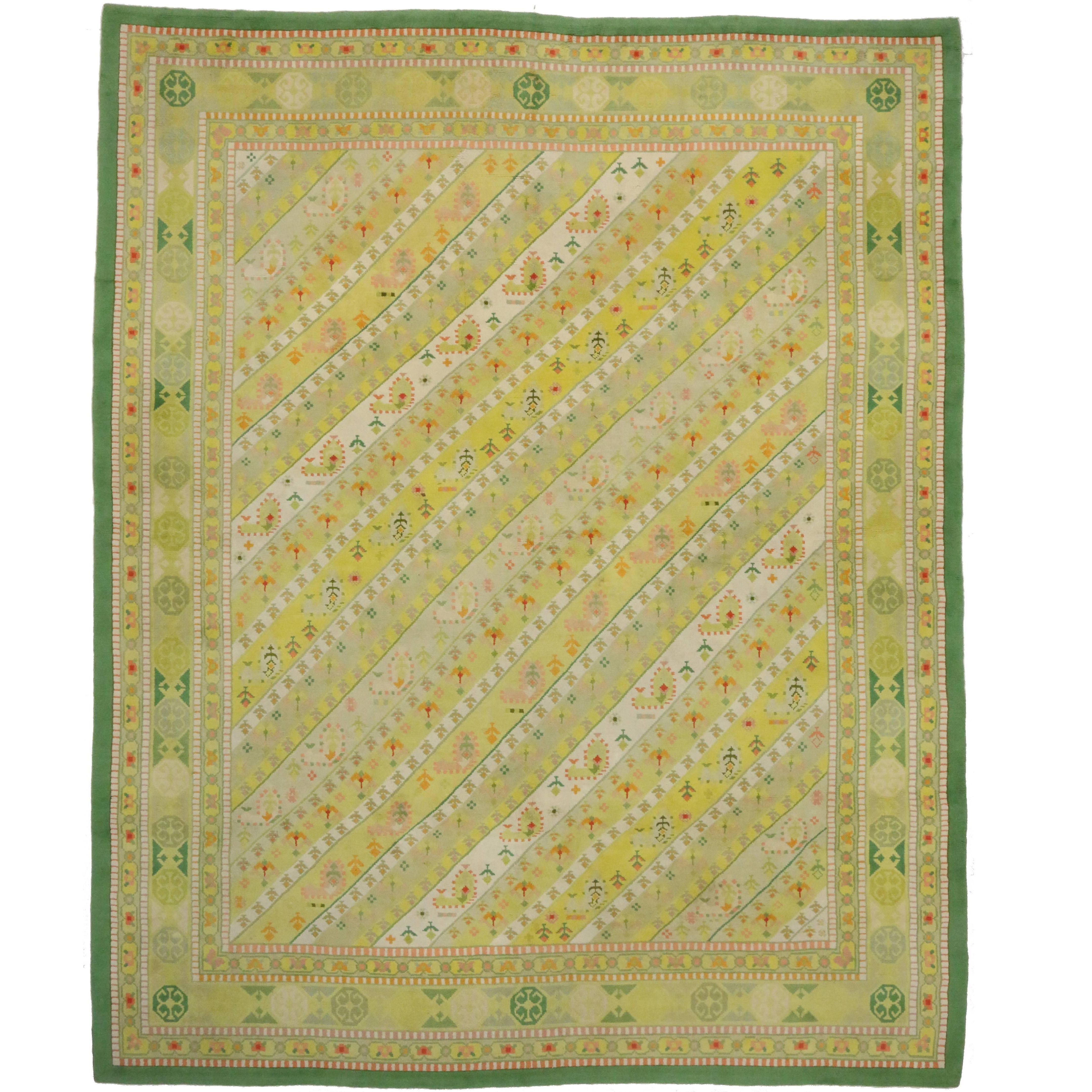 Vintage Spanish Carpet with Striped Muharramat Design, Neoclassic Art Deco Style