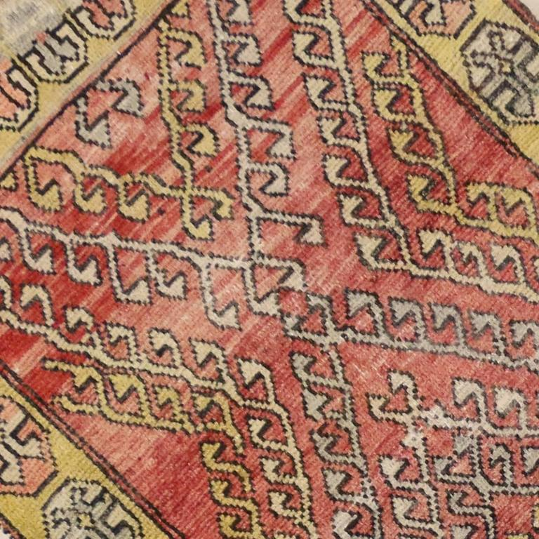 Vintage Turkish Oushak Runner with Modern Tribal Style For Sale 2