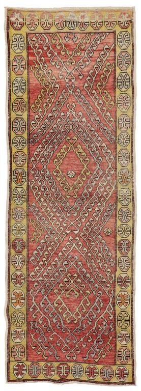 Vintage Turkish Oushak Runner with Modern Tribal Style For Sale 3