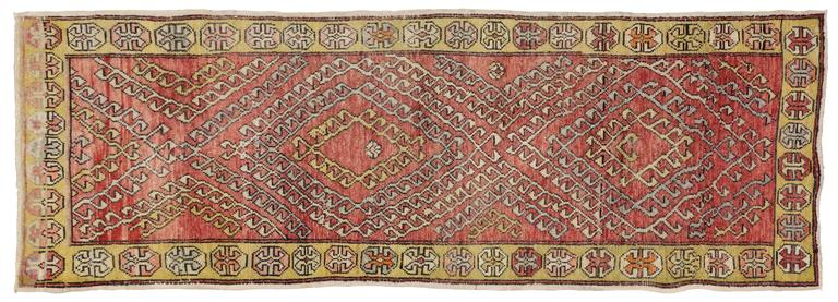 Vintage Turkish Oushak Runner with Modern Tribal Style For Sale 4