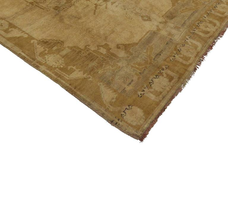 50439 Vintage Turkish Oushak Gallery Rug, Wide Hallway Runner. This vintage Turkish Oushak carpet runner features a modern design in neutral colors. Three intricate medallions float along the open field of golden abrash surrounded by a low-contrast