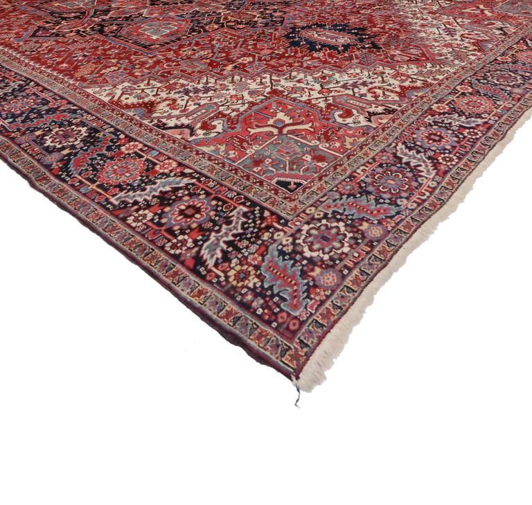 Semi Antique Persian Heriz Rug With Modern Style For Sale