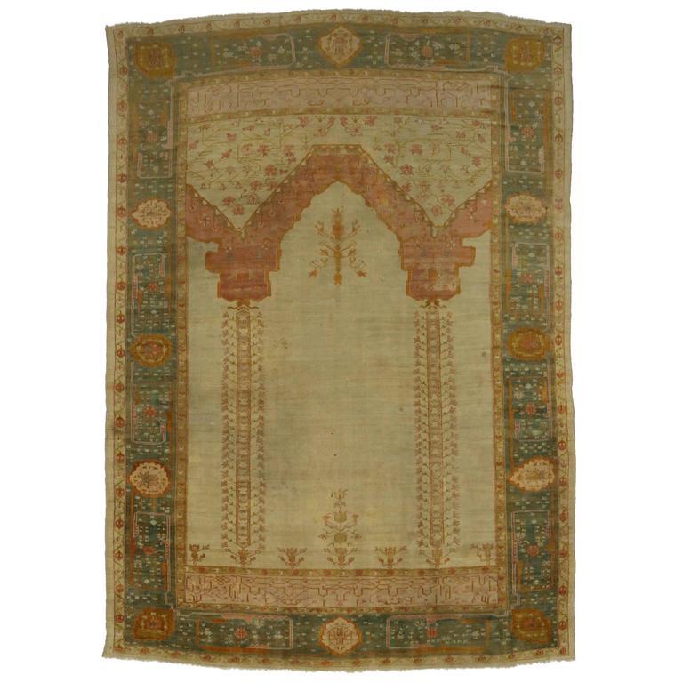 Antique Turkish Oushak Prayer Rug West Anatolia For Sale