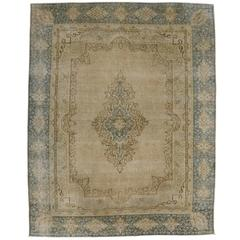 Vintage Persian Kerman Rug with Neutral Colors and Modern Industrial Style