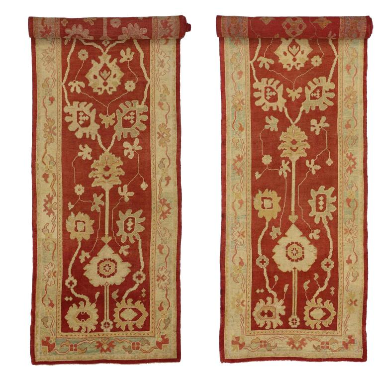 74233-73535 Pair of Antique Turkish Oushak Runners, Extra-Long Hallway Runners. Full of character and stately presence, this hand-knotted wool pair of antique Turkish Oushak runners are keeping up nicely with the times. Each antique Oushak runner