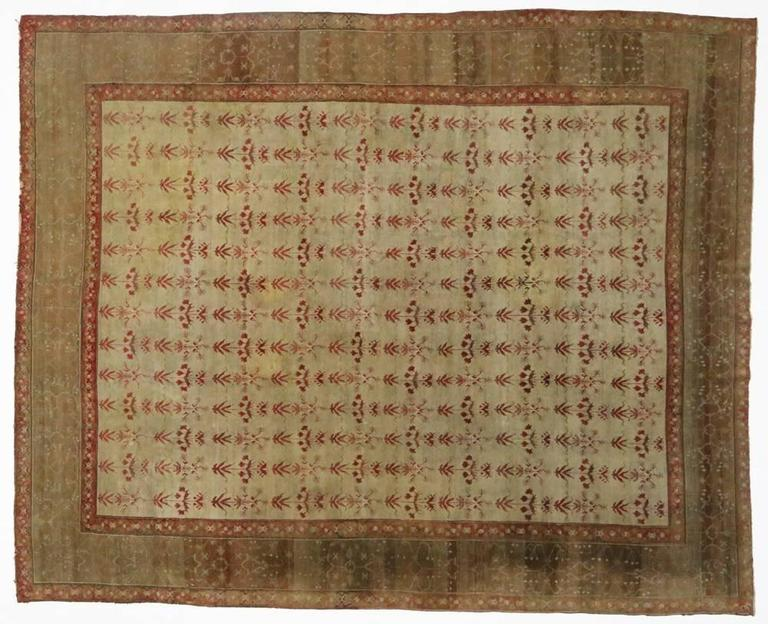 19th Century Antique Indian Agra Rug with Modern Traditional Style For Sale