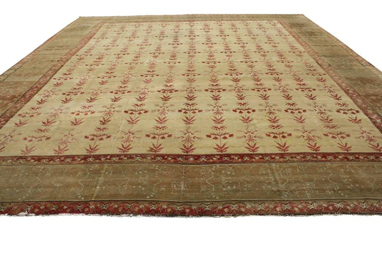 Hand-Knotted Antique Indian Agra Rug with Modern Traditional Style For Sale
