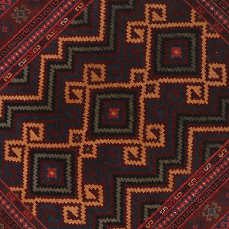 Boho Chic Vintage Turkish Flatweave Kilim Rug With Modern