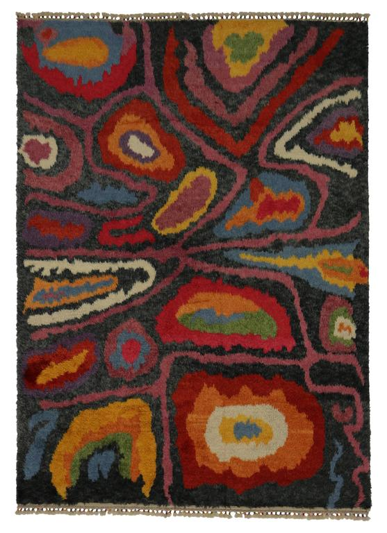 Modern Turkish Tulu Shag Rug with Contemporary Abstract Style For Sale 1
