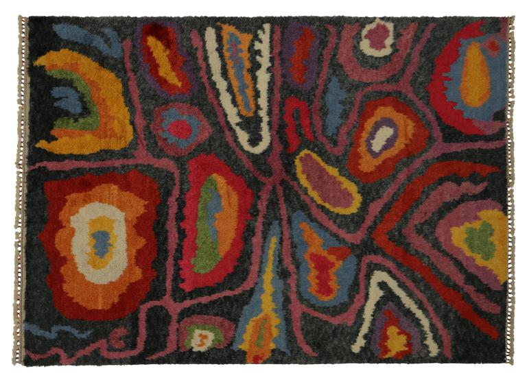 Wool Modern Turkish Tulu Shag Rug with Contemporary Abstract Style For Sale