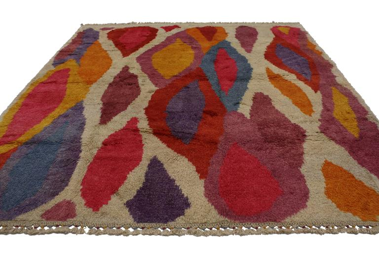 Modern Turkish Tulu Shag Rug with Contemporary Abstract Style 3