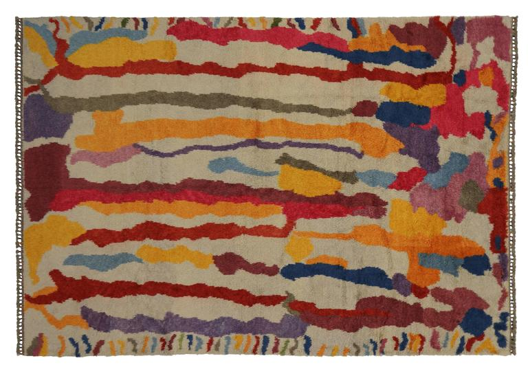 Modern Turkish Tulu Shag Rug with Contemporary Abstract Paint Drip Style 7